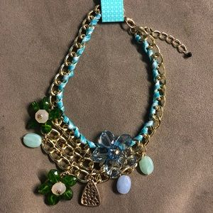 Chain bead flower adjustable necklace